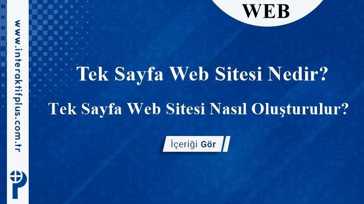 Tek Sayfa Web Sitesi