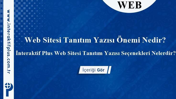 Web Sitesi Tanıtım Yazısı